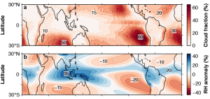 Figure 1 : (a) Fraction of unique low clouds (2007-2010), according to space-based radar and lidar (CloudSat/CALIPSO) data. (b) Deviation of mid-tropospheric (500-hPa) relative humidity from its mean over the tropics (30°S to 30°N), according to reanalysis data (1981-2010).